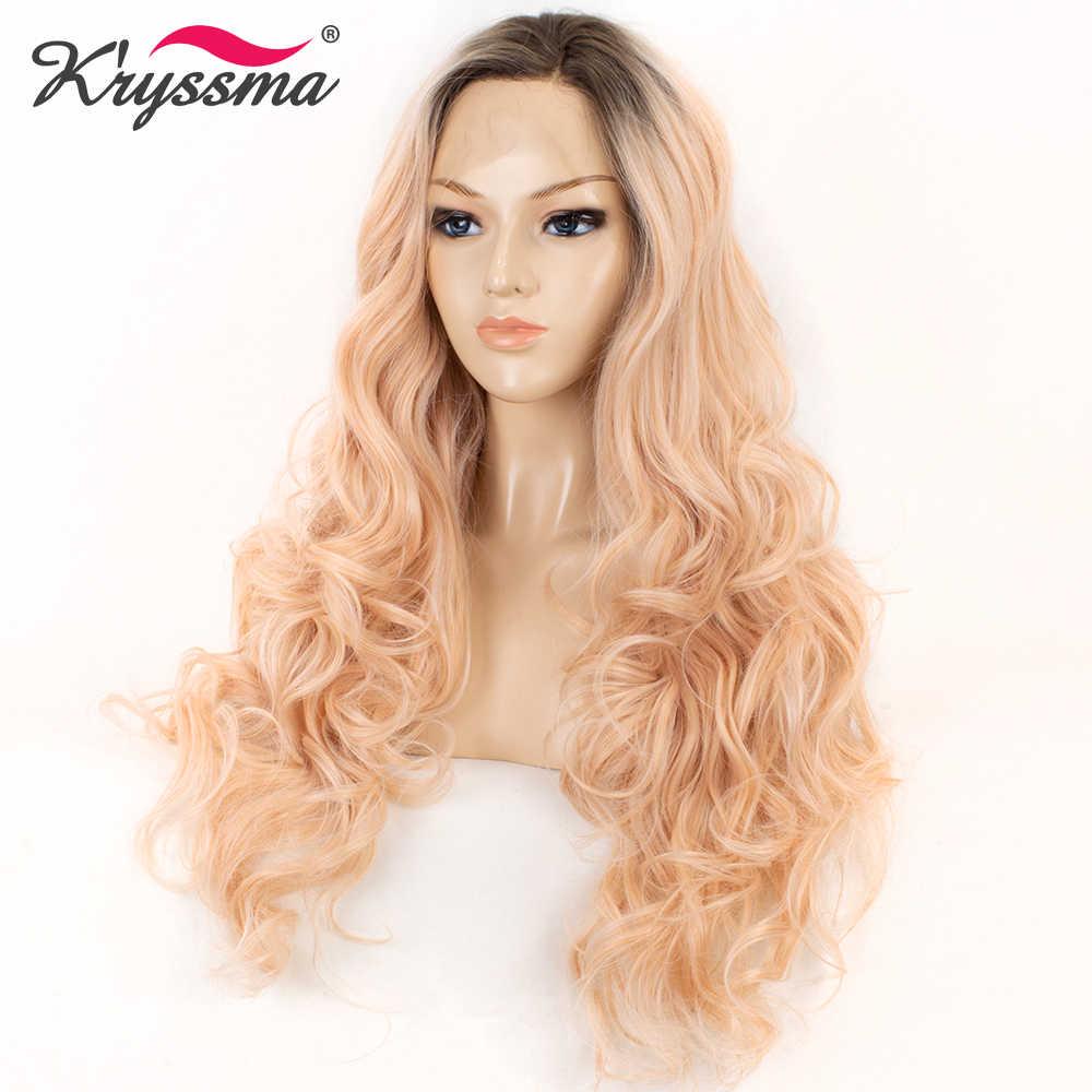 Длинный Омбре парик Оранжевый Розовый темно корни синтетический парик фронта шнурка два тона длинные волнистые парики для женщин 22 ''натуральный волос линия бесклеевая