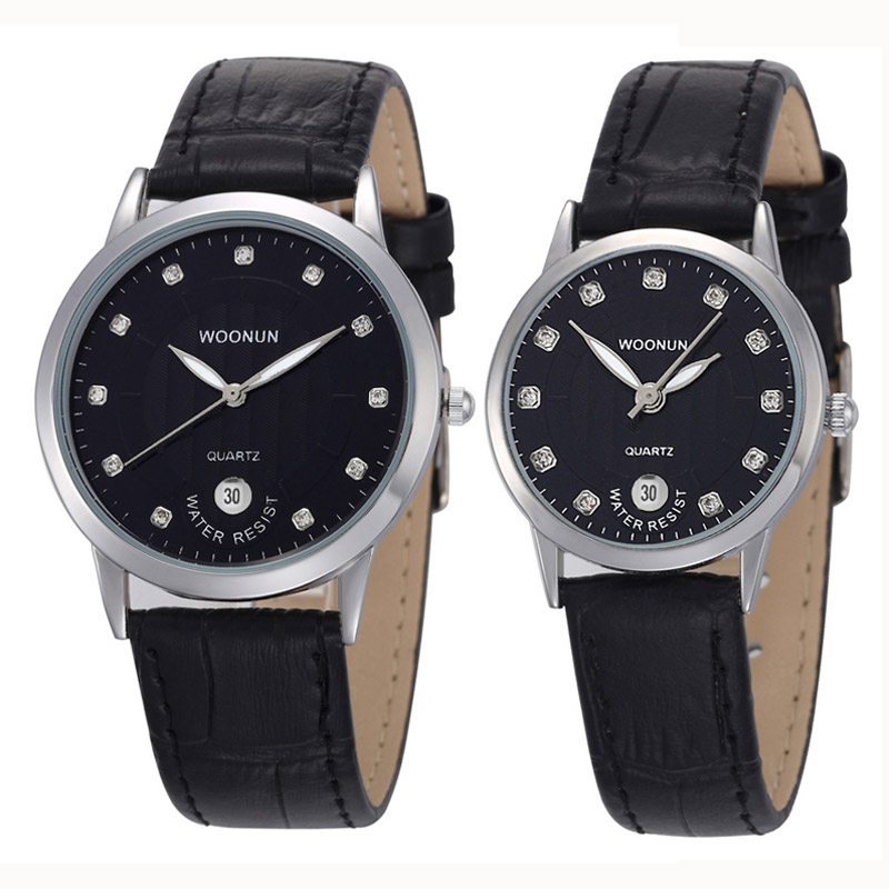 купить New Fashion Casual Men Women Watches WOONUN Top Brand Luxury Couple Watches For Lovers Leather Strap Quartz Watch Men Women недорого