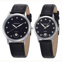 Новая мода Повседневное Для мужчин Для женщин Часы woonun лучший бренд класса люкс пара Часы для любителей кожаный ремешок кварцевые часы Для мужчин Для женщин