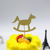 1pc Creative Toy Cockhorse Cake Flag Topper Multi Colors Cake Flags For Birthday Wedding Party New Years Cake Baking Decor