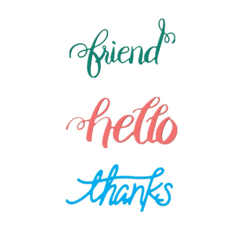 Hello Phrases Metal Cutting Dies Stencil Scrapbooking Embossing Paper Card DIY