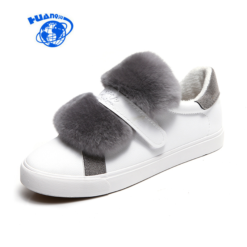 HUANQIU Women Leather Shoes for Winter Female Casual Shoes with Faux Fur Black White Shoes Flat Heel Vulcanized Shoes Fashion faux fur trim driving shoes