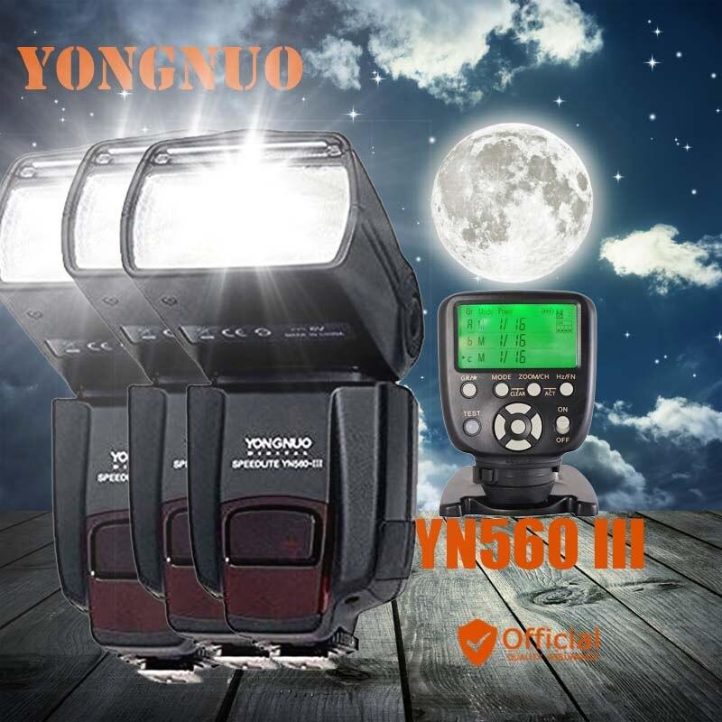 3 * Yongnuo YN560 III 2.4G sans fil Flash manuel Speedlite + transmetteur contrôleur pour Canon EOS 1Ds 5D 1D Mark III 50D 60D 77D 7D
