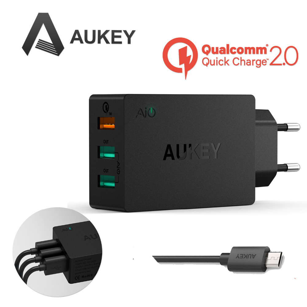 Aukey Quick Charge 2.0 42W 3 Ports USB Desktop Charging Station Wall...