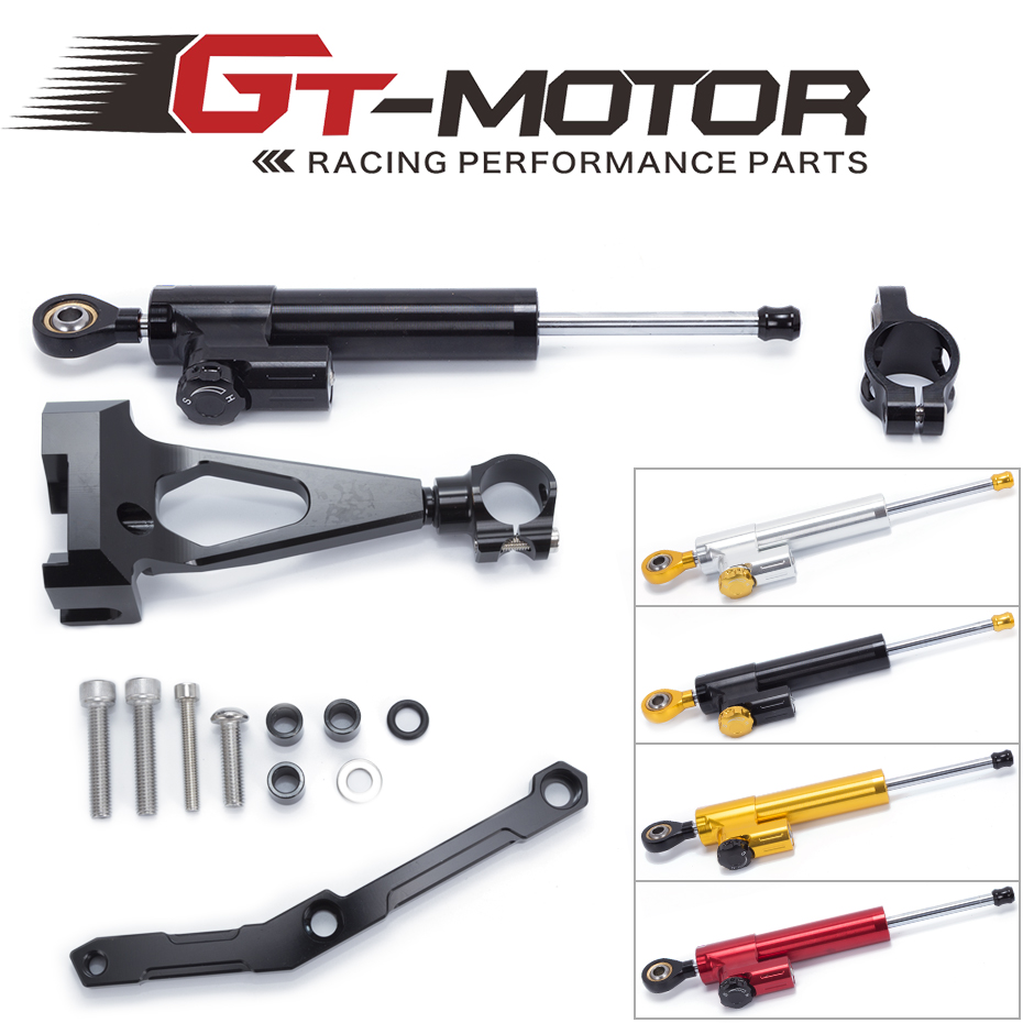 GT Motor- Motorcycle CNC Steering Damper Stabilizerlinear Reversed Safety Control with Bracket For Yamaha MT09 MT-09 FZ-09 13-17
