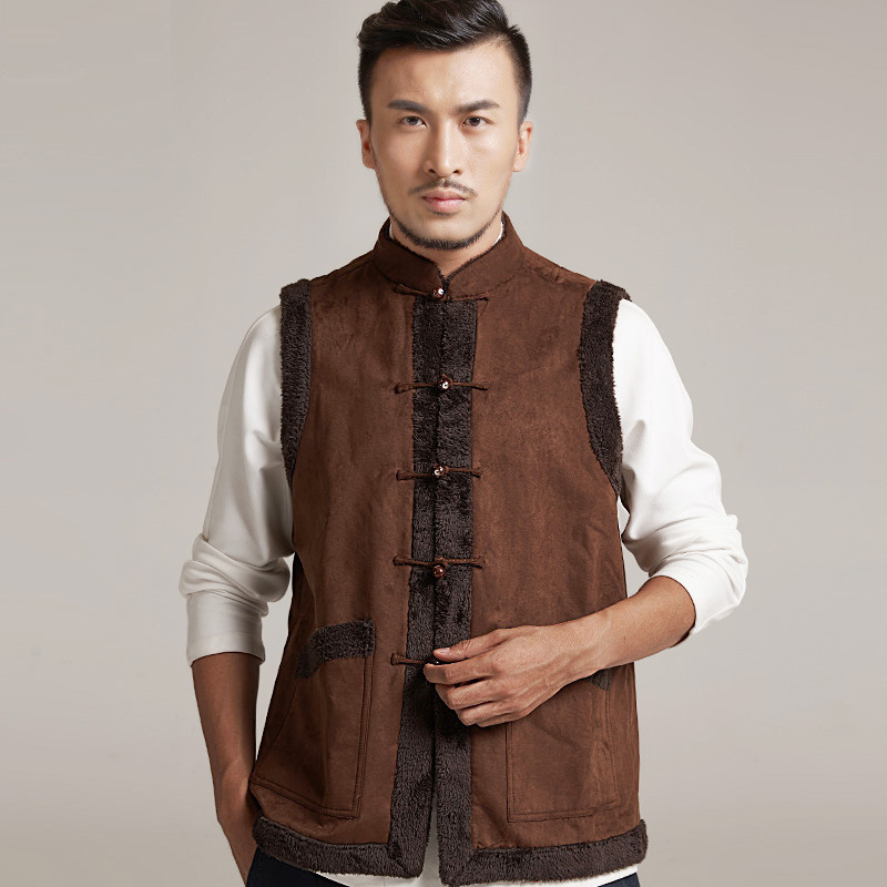 High quality Chinese Tang Vest Black Coffee Martial arts Tops Men Kung fu Wushu Vest Sleeveless tai chi Clothing Tang Cool Vest диван tang bo fu
