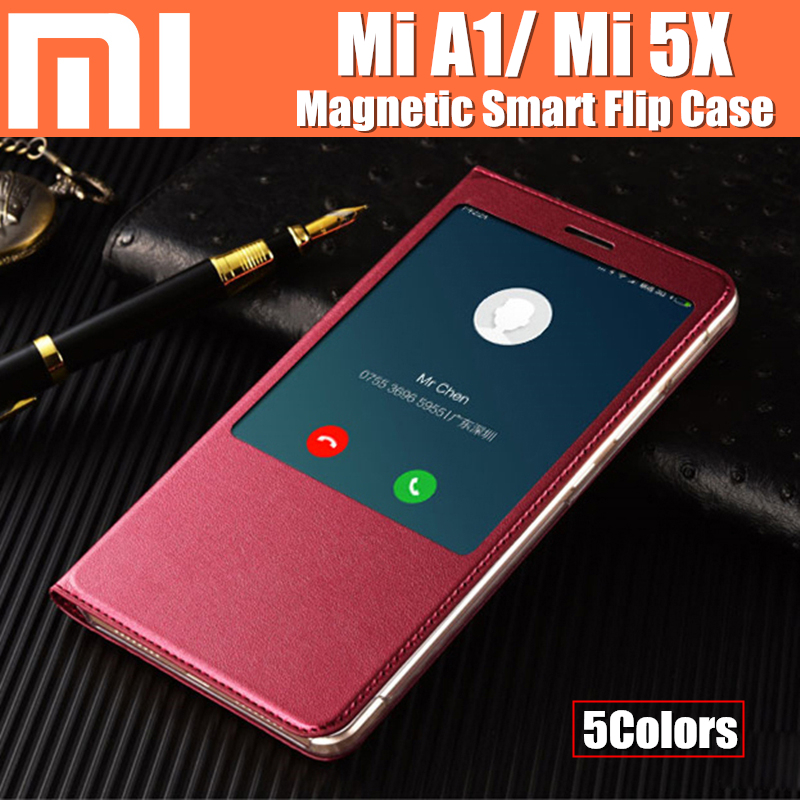 xiaomi mi A1 case fanda magnet to auto sleep/ wake-up smart flip cover catman original for xiaomi mi 5x mi5x cases cover