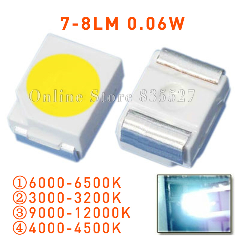 100PCS/LOT 1210 3528 SMD LED Super Higt Bright Nature / Warm / Cool White Light-emitting Diodes 7-8LM Lamp Bead S