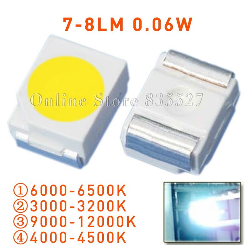 100 pçs/lote smd led super higt luz branca brilhante, natureza/quente/fria, diodo emissor de luz 7-8lm lâmpada contas s