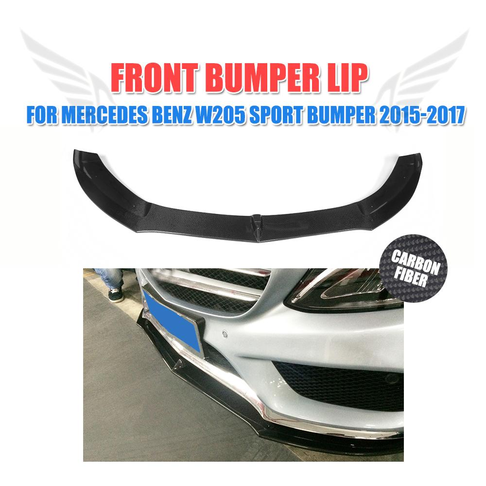 Carbon Fiber Front Bumper Lip Spoiler For Benz C Class W205 Sport Bumper Only 2015-2017 Car Styling
