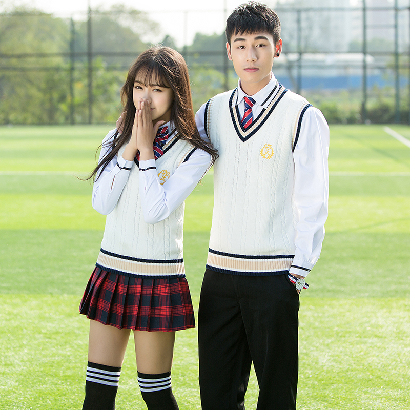 High School Students Uniforms Korean Junior High School Students British Style Class Service Autumn Campus Clothing JK Uniform