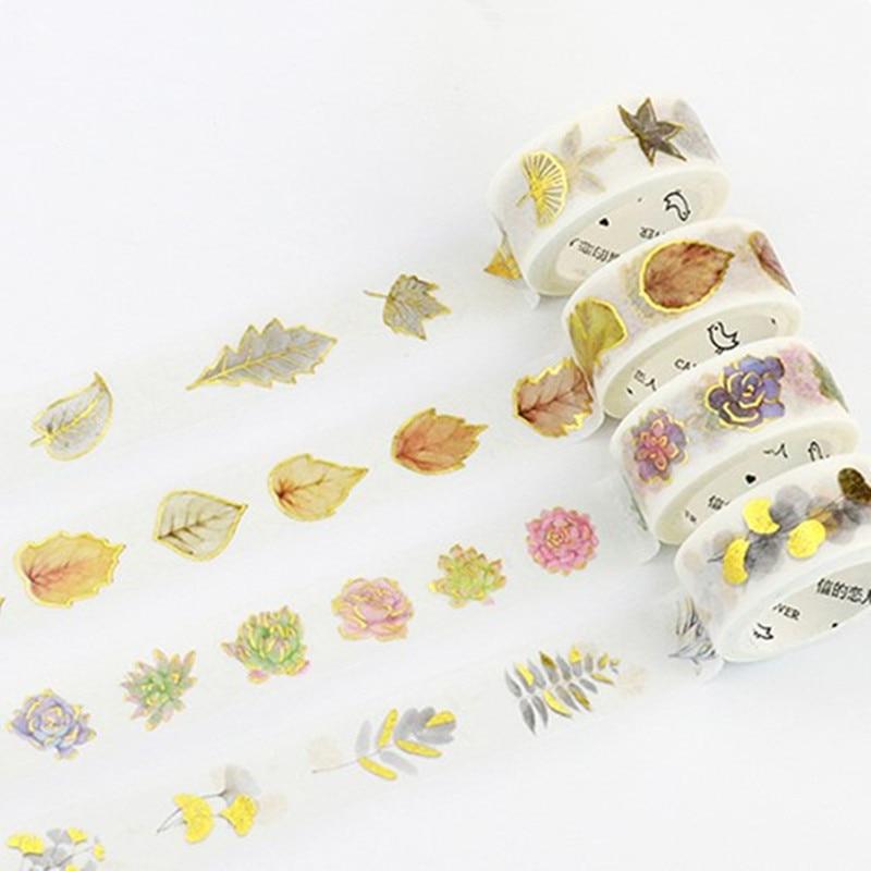 Autumn Fallen Leaves Foil Washi Tape Glitter Adhesive Tape DIY Scrapbooking Sticker Label Craft Masking Tape цена