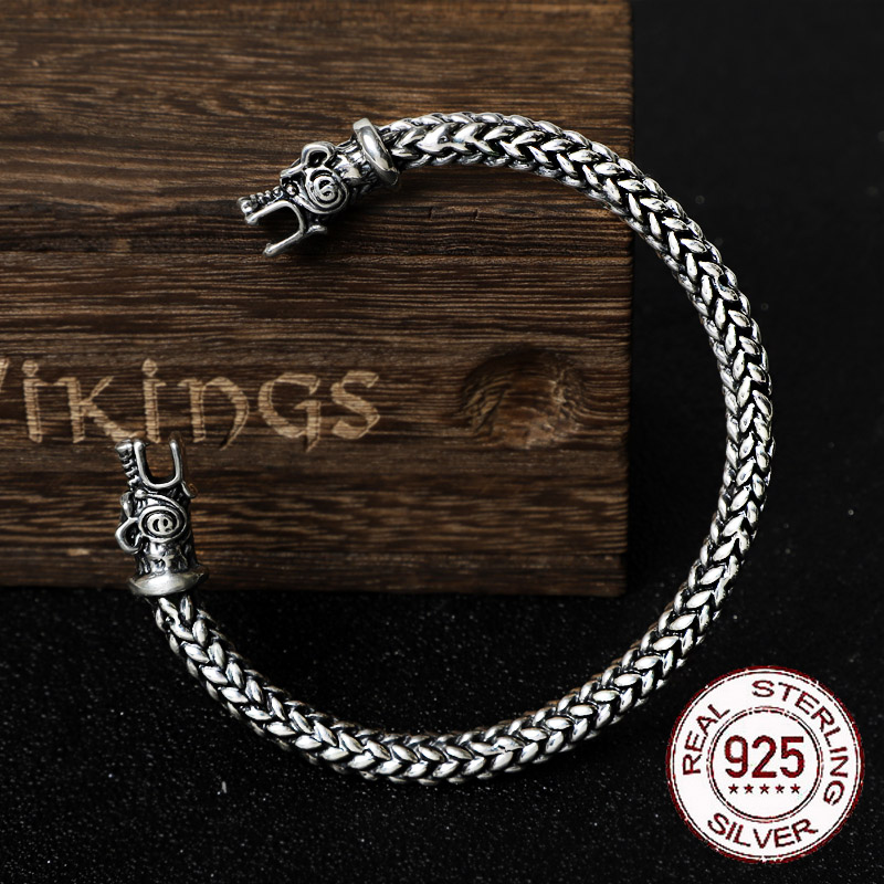 Real 925 Sterling Silver Viking Dragon Bangle Twisted body with wood box as gift
