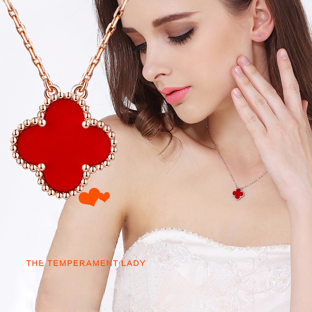 Rose gold Clover necklace Korean necklace female s925 sterling