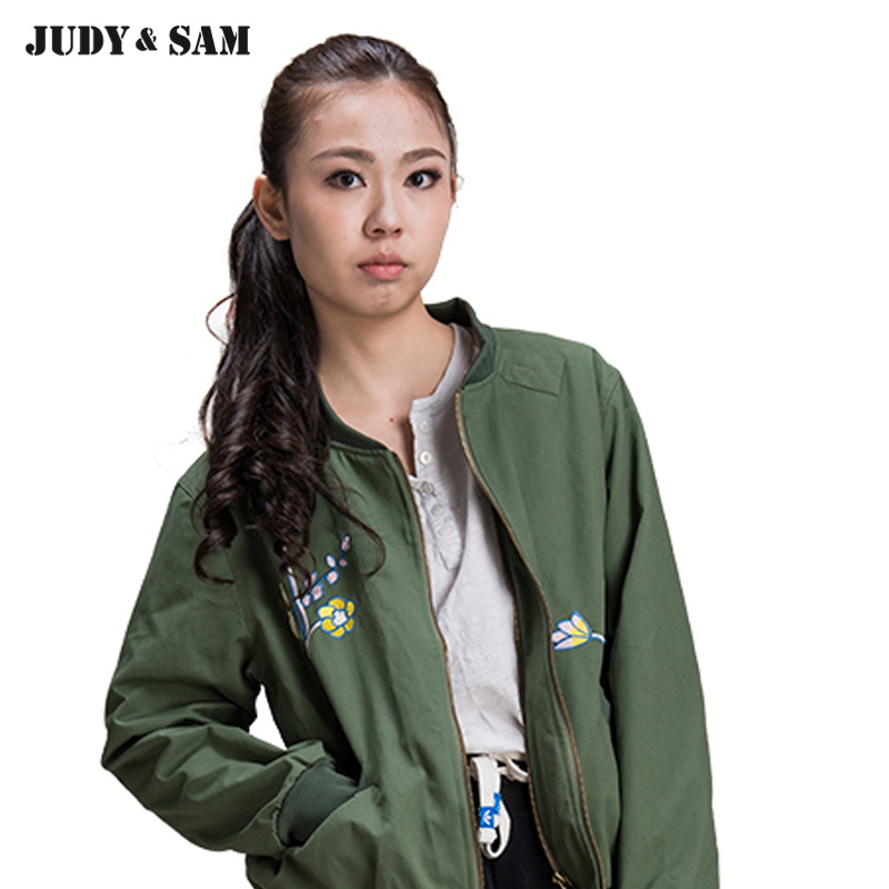 Bomber Jacket For Spring&Autumn Embroidery Green Parka Women Overcoat Cotton Jacket Female Outwear Coat large size loose autumn winter cotton padded parka jacket women single breasted new female overcoat solid women jacket tt3231