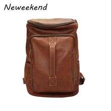 NEWEEKEND Vintage Genuine Leather Multifunction Large Capacity 14 Inch Soft Zipper Shoulder Backpack Laptop Travel Bag for Man