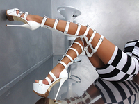 Sexy Cut out Black White Strap Design Buckle Over Knee Platform Thigh Gladiator Boots Patent Leather High Heel Sandals Boots
