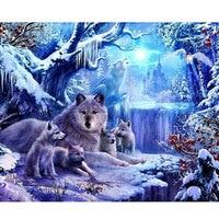 Diy 5D elmas nakış hayvanlar Elmas Boyama Kurt Tam Rhinestones Bulmaca Resim Kış Manzara Resimleri Ev Dekor