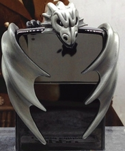 WATCH VIDEO ZP brand silver Overlord King Replica  3D  Dragon wing Stickers black ice Lighter with  box
