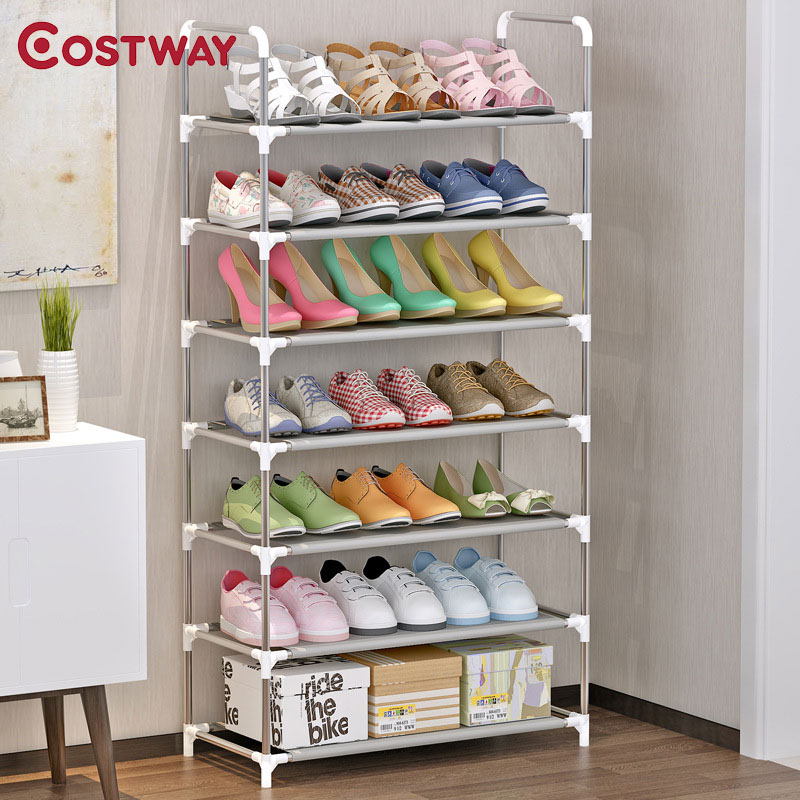 COSTWAY 7-Tier Non-woven Shoes Rack Shoe Cabinets Stand Shelf Shoes Organizer Living Room Bedroom Storage Furniture W0256 12 grid diy assemble folding cloth non woven shoe cabinet furniture storage home shelf for living room doorway shoe rack