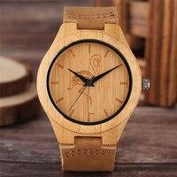 Einfache Leger Bambus Uhr für Männer Quarz Kran/Katze/Hund Zifferblatt Natur Holz Kreative Uhren Sport Echtes Leder Band Uhr Geschenk