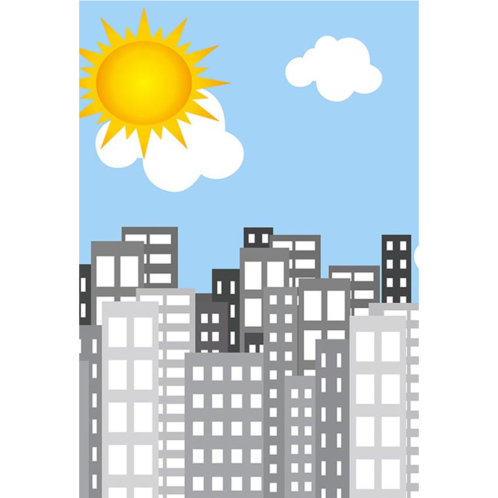 Light Blue Sky Clouds Sun Cartoon Super Hero Backdrop City Buildings Baby Newborn Children Party Themed Photo Booth Backgrounds