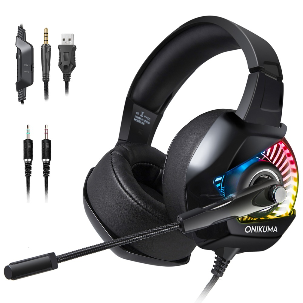 ONIKUMA K6 Gaming Headset With Microphone Casque PC Gamer Bass Stereo Headphones For PS4 Gamepad New