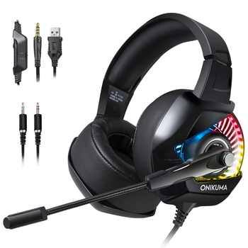 ONIKUMA K6 Gaming Headset With Microphone Casque PC Gamer Bass Stereo Headphones For PS4 Gamepad New Xbox One Laptop Computer - DISCOUNT ITEM  5% OFF All Category
