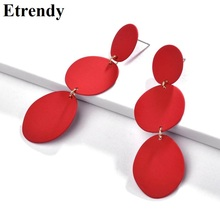 Multi Layers Long Drop Earrings For Women Statement Big 2019 Fashion Jewelry Wholesale Red Irregular Round