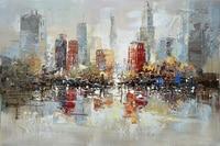 Decoración para el hogar abstracto pintura al óleo pintado a mano del artista lienzo de pintura superior hermosa ciudad ribereña pintura Abstracta fotos