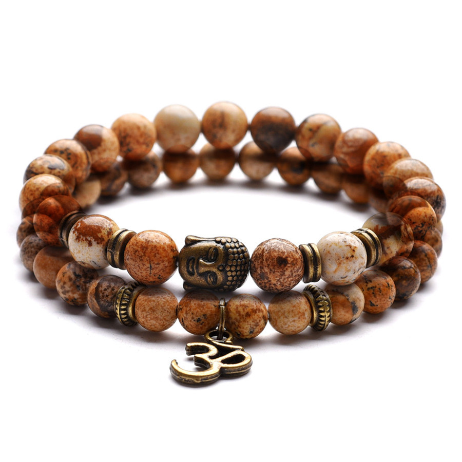 DIEZI Lovers OM Bracelets Men Energy Yoga Charm Strand Strand Bracelet for Women 6 8 mm Natural Stones Beads Bracelets
