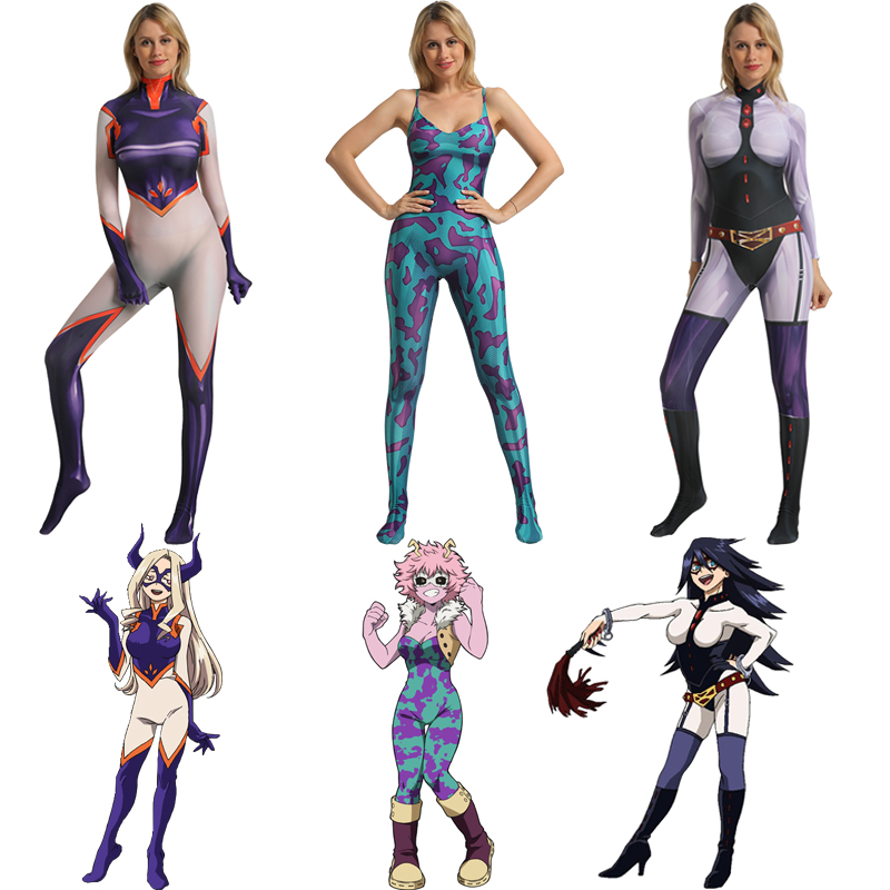 Boku Nenhum Herói Academia MT Senhora Mina Ashido Midnight Cosplay My Hero Academy Traje Cosplay Traje de Halloween Para As Mulheres
