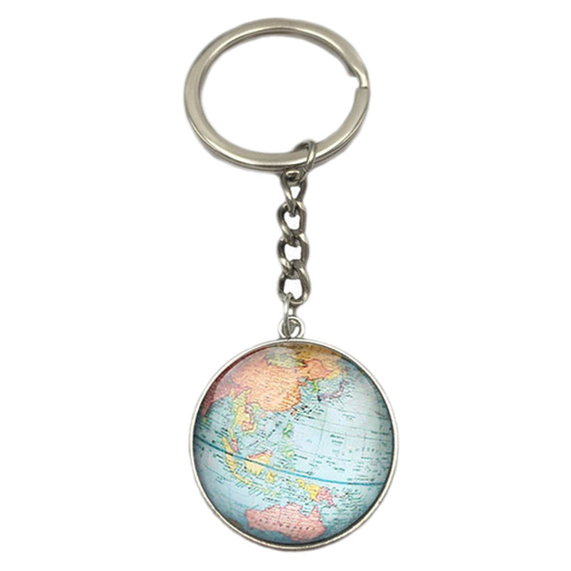 Earth globe art pendant keychains gift world travel adventurer key earth globe art pendant keychains gift world travel adventurer key ring world map globe keychain jewelry sciox Images