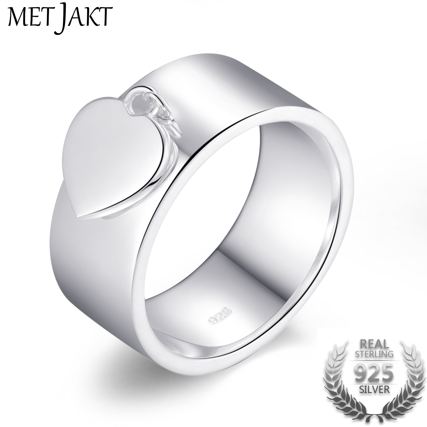 MetJakt Classic 925 Sterling Silver Heart Charm Rings for Girlfriend Mother Friend Perfect Gift Love Ring