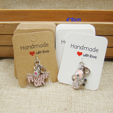 2017 New DIY Hand Made With Love Kraft Ring Card white prinited paper Display Pendent Card Custom Logo Cost Extra