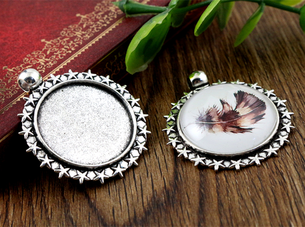 New Fashion  3pcs 25mm Inner Size Antique Silver Stars Style Cabochon Base Setting Charms Pendant (A3-04)