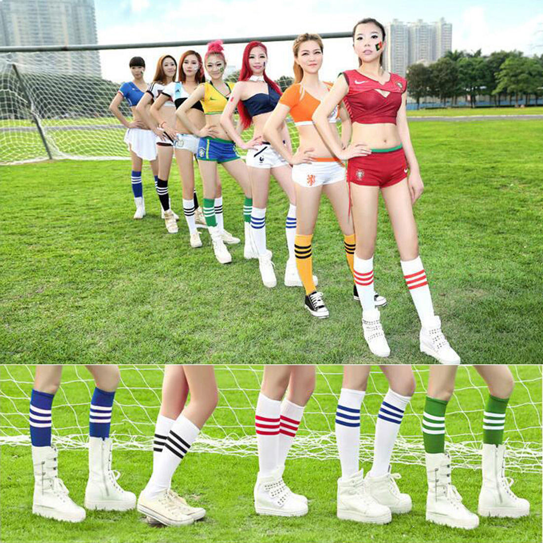 Hot Sale Women Men Cotton Knee High Socks 3 Line Striped Sock 8 Colors Free Shipping ...