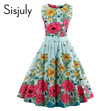 Sisjuly vintage women summer dress light blue floral print little bee cute party dress sashes 2017 summer a-line vintage dress