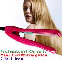 Professional Hair Straightener Ceramic Straightening&Curling 2 in 1 Flat Iron Styling Tools Mini Hair Curler