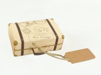 8*5*3cm Mini Suitcase Candy Box Kraft Favor Box Wedding Candy Boxes Gift Box 200pcs\lot Free shipping