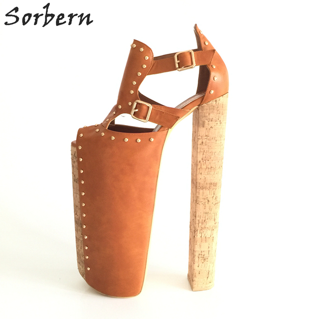 Sorbern DIY Thick Heels Women Sandals Shoes Size 14 Chunky Heels 35cm Platform 25cm Shoes Ladies Peep Toe Cover Heels Real Image