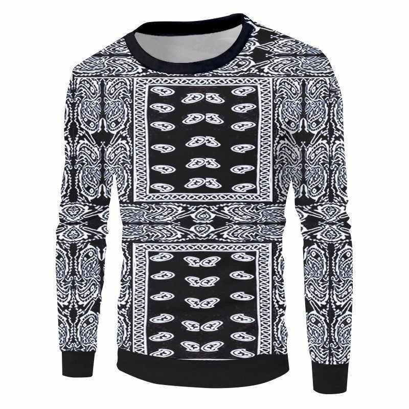 Ogкб черная бандана Толстовка Пейсли 3D толстовки для женщин хип-хоп Уличная одежда с длинным рукавом Crewneck Пуловеры Cashew Цветочные свитшоты
