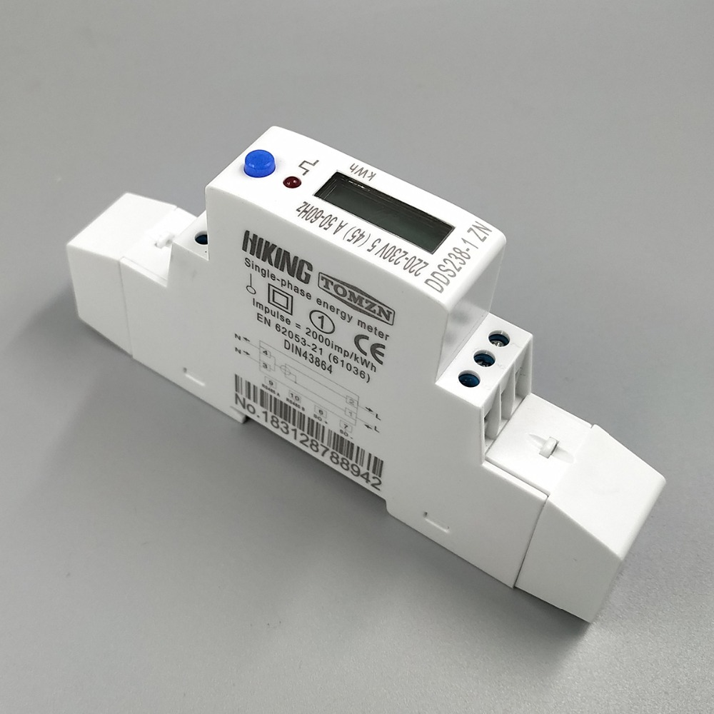 5(45)A 45A MAX 220V 230V 50HZ 60HZ voltage current single phase Din rail KWH Watt hour energy meter with RS485 MODBUS-RUT