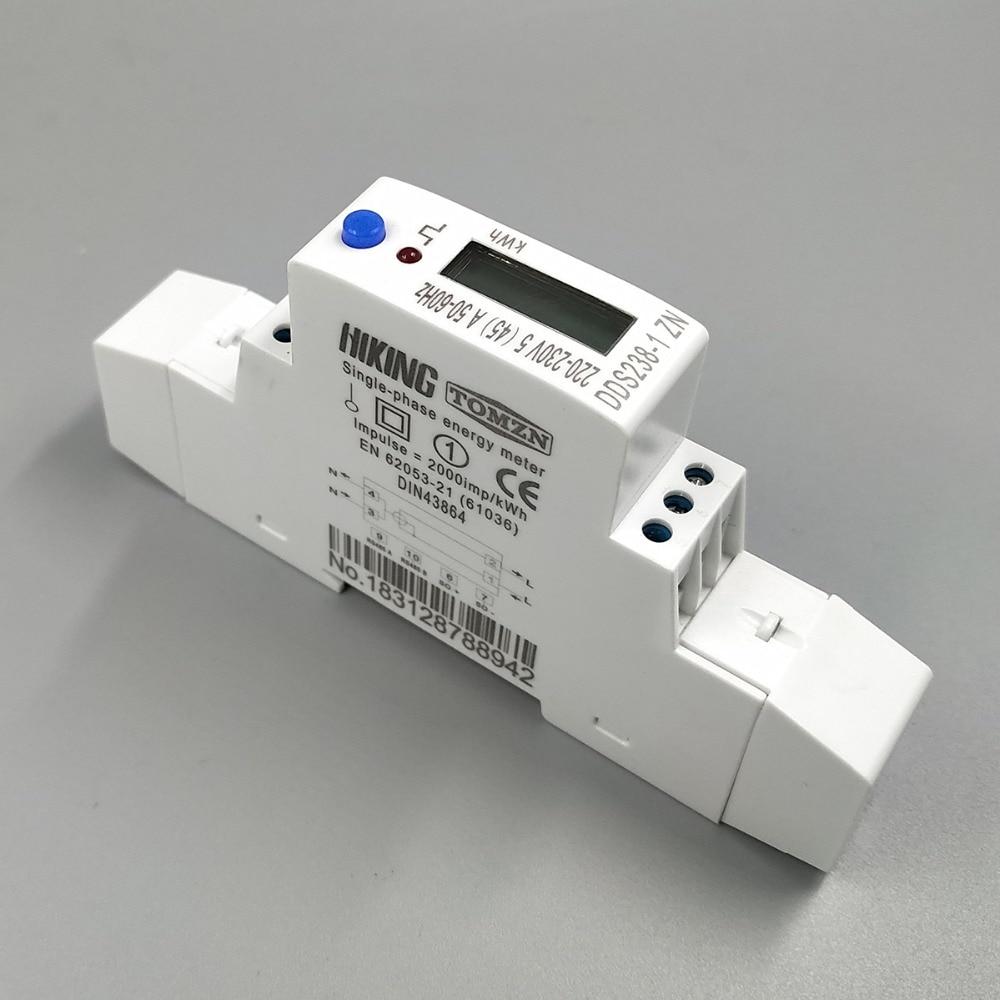 5 (45) A 45A MAX 220V 230V 50HZ 60HZ tension courant monophasé Din rail KWH Watt-heure compteur d'énergie avec RS485 MODBUS-RUT