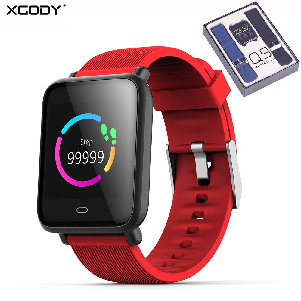 XGODY Q9 Relógio Inteligente IOS Android Inteligente À Prova D' Água Pulseira Banda Mulheres Homens Esportes Aptidão Rastreador Bluetooth Smartwatch Para iphone