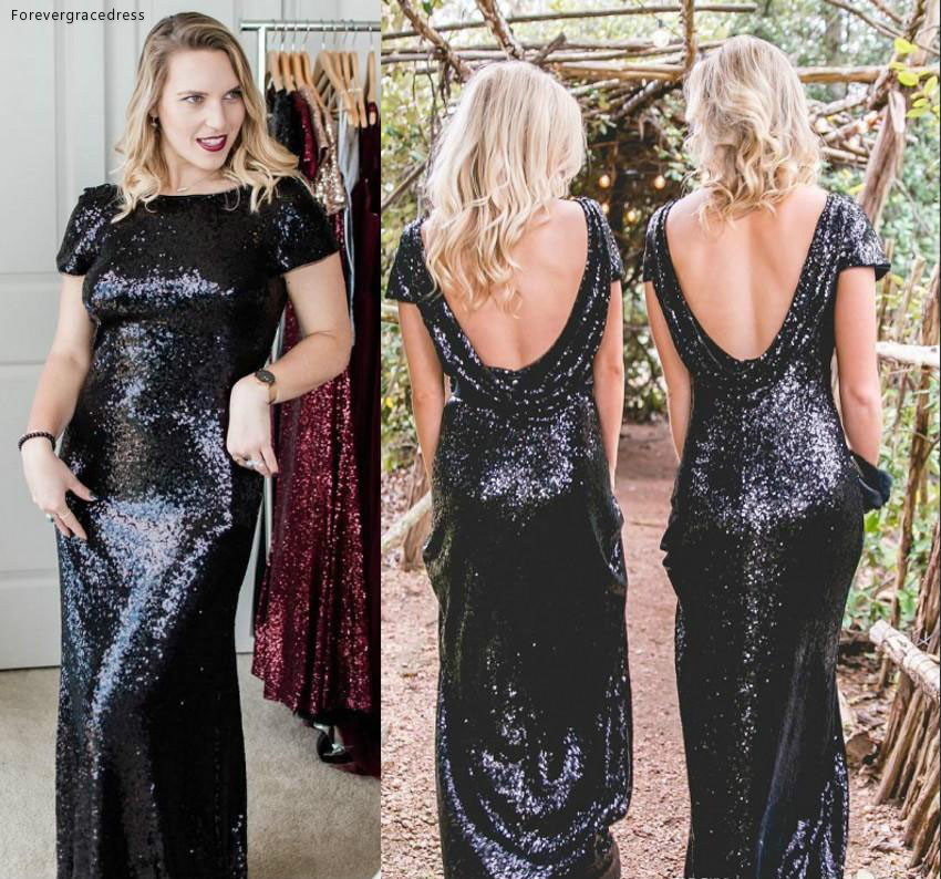 Black Sequins Backless   Bridesmaid     Dress   Mermaid Summer Country Garden Formal Wedding Party Guest Maid of Honor Gown Plus Size