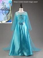 Elsa Dress Custom Made Movie Princess Girls Costumes Snow Queen Elbise Halloween Cosplay Vestido Elza Fantasia