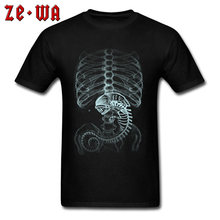 Creepy Alien Clothes Men T-Shirt Plus Size Men's T Shirt Male TShirts Camiseta Tshirt 3XL XS Tee Shirt Homme Summer Funky X-ray(China)