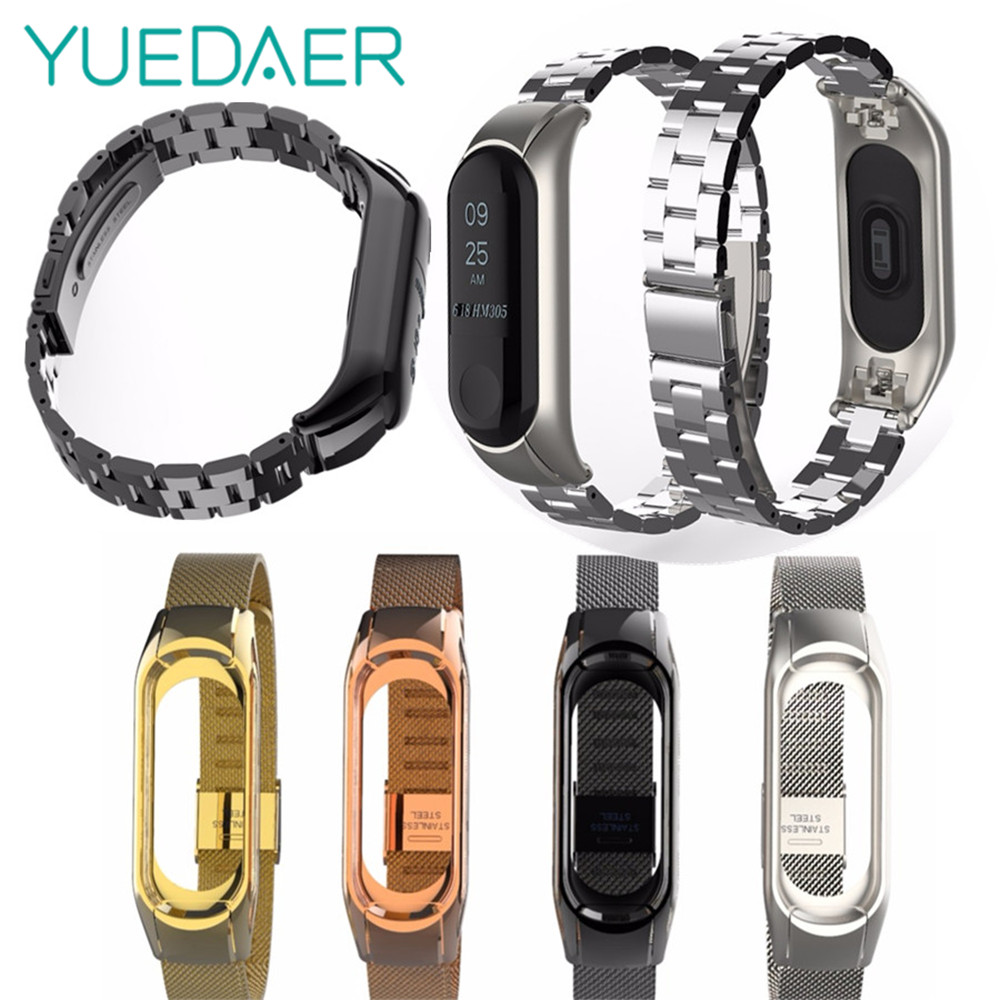 YUEDAER Metal Strap Replace For XIAOMi mi Band 3 Bracelet smart watch stainless steel Wristband for mi band 3 strap wrist watch mijobs mi band 3 metal strap for xiaomi mi band 3 bracelet wristband smart watch bracelet stainless steel correa mi band 3 strap