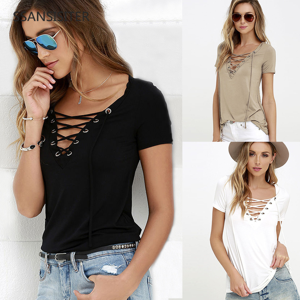 Hot <font><b>Summer</b></font> Women <font><b>T</b></font>-<font><b>shirt</b></font> Short Sleeve Deep <font><b>V</b></font> <font><b>Neck</b></font> <font><b>Sexy</b></font> <font><b>Bandage</b></font> <font><b>Shirts</b></font> Women Lace Up Tops Tees <font><b>T</b></font> <font><b>Shirt</b></font> Plus Size S-5XL image